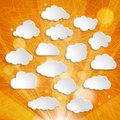 White clouds collection on orange striped background an Royalty Free Stock Images