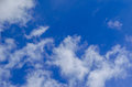White clouds in deep blue sky