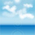 White clouds over blue sea illustration Stock Images