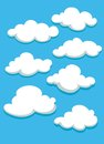 White clouds set on blue sky vector illustration Royalty Free Stock Photo