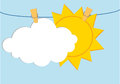 White clouds and sun hang on a rope with clothespins. Vector.