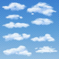 White clouds on transparent blue background vector illustration