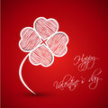 White cloverleaf from scribbled hearts Royalty Free Stock Image