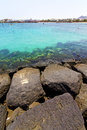 White coast lanzarote in hotel water and summer spain beach stone Stock Photos