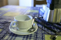 White Cofee cup in a wooden table Royalty Free Stock Photo