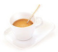 White coffee cup closeup of little of isolated on background espresso drink tasty morning beverage Stock Photography