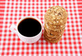 White coffee cup and cookies Royalty Free Stock Photography