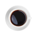 White coffee cup top view isolated Royalty Free Stock Photography