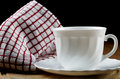 White coffee cup and towel closeup Royalty Free Stock Photo