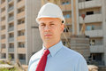 White-collar worker on the building site Stock Photos