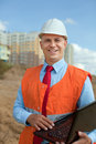 White-collar worker at the building site Stock Images