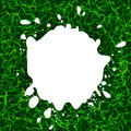white color blotch vector logo. Milk logotype. Paint stain illustration on the green grass background.
