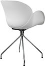 White color plastic chair with chrome legs, modern designer. Chair isolated on white background.