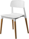 White color plastic chair, modern designer. Chair on wooden legs isolated on white background. furniture and interior Royalty Free Stock Photo