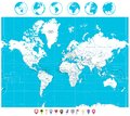 White color World Map and navigation icons