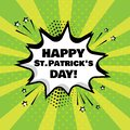White comic bubble with Happy St. Patrick`s Day word on green background. Vector illustration