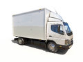 White commercial delivery truck on a ligth background with shadow Royalty Free Stock Images