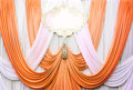 White and copper curtain backdrop background Royalty Free Stock Photo