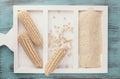 White corn on the cob and corn flour Royalty Free Stock Photo