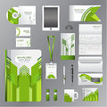 White corporate identity template with green origami elements. V Royalty Free Stock Photo