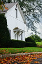 White Country Church, Fall Leaves Royalty Free Stock Photo
