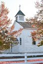 White Country Church in Fall Royalty Free Stock Photo