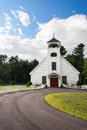 White country church in new england Royalty Free Stock Image