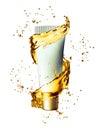 White cream bottle mock up of water splash golden color. Royalty Free Stock Photo