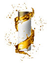 White cream bottle mock up of water splash golden color. Royalty Free Stock Photo