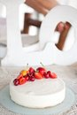 White Cream Icing Cake with Fruits Royalty Free Stock Photo