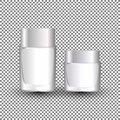 White cream jar template for skin care product. Face moisturizer lotion cosmetic package with cap or lid on transparent background