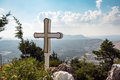 White cross at Tsampika church on Rhodes island, Greece Royalty Free Stock Photo