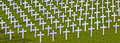 White crosses in a cemetery Stock Photo