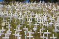 White crosses on a hillside Royalty Free Stock Photo