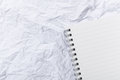 White crumple paper and notepad the Royalty Free Stock Photos