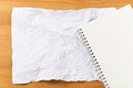 White crumple paper and notepad Royalty Free Stock Photography