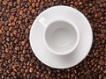 A white cup on beans background Royalty Free Stock Photo