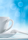 White cup and blurryy background Royalty Free Stock Photos