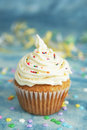 White cup cake Stock Photo