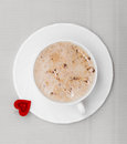 White cup coffee hot drink and heart symbol love valentine s day of beverage cappuccino latte with shape Stock Images