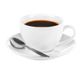White cup of dark coffee Royalty Free Stock Photos