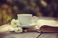 White cup with a flowers of wild rose on an open old book Royalty Free Stock Photo