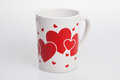 White cup with red heart Royalty Free Stock Images