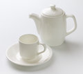 White cup teapot white background Royalty Free Stock Photo