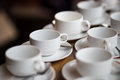 White cups of coffee prepare on wooden table Royalty Free Stock Image