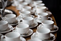 White cups of coffee prepare on wooden table Stock Photography