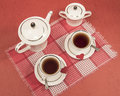 White cups, teapot, sugar bowl, red napkin, hearts VALENTINE Royalty Free Stock Photo