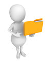 White d human character with yellow office document folder render illustration Royalty Free Stock Photo