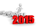 White 3d man jump over new 2015 year. runnung to success