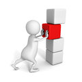 White 3d man push main last cube of success tower Royalty Free Stock Photo